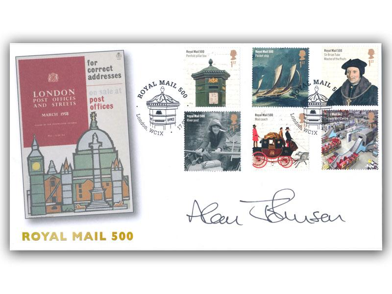 Celebrating 500 Years of Royal Mail Stamps signed by Alan Johnson