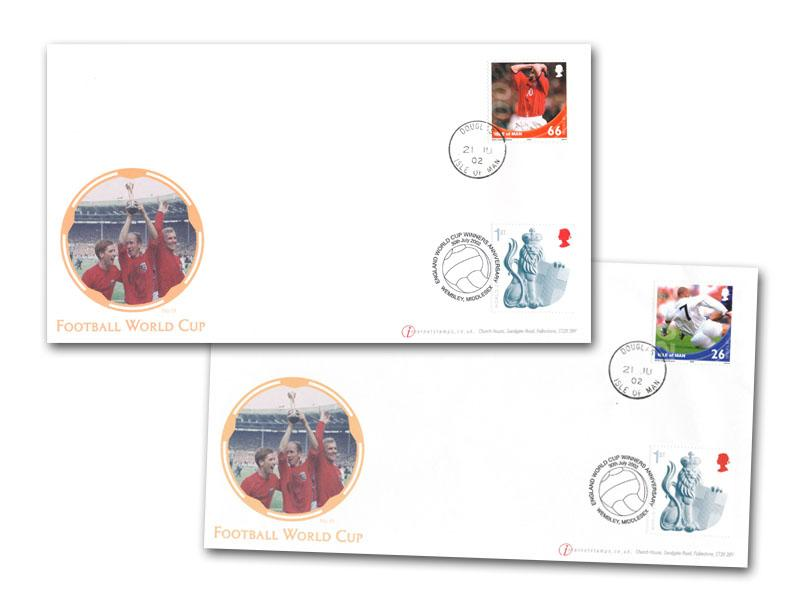 Football World Cup 2002 Pair of Single Stamp IOM Covers