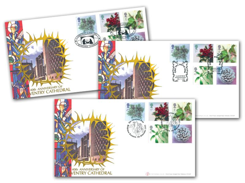 Christmas 2002 - 40th Anniversary of Coventry Cathedral Set of 3 Covers