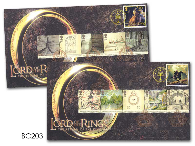 2003 NEW ISLE OF MAN LORD OF THE RINGS RETURN OF THE KING FIRST DAY COVER STAMPS