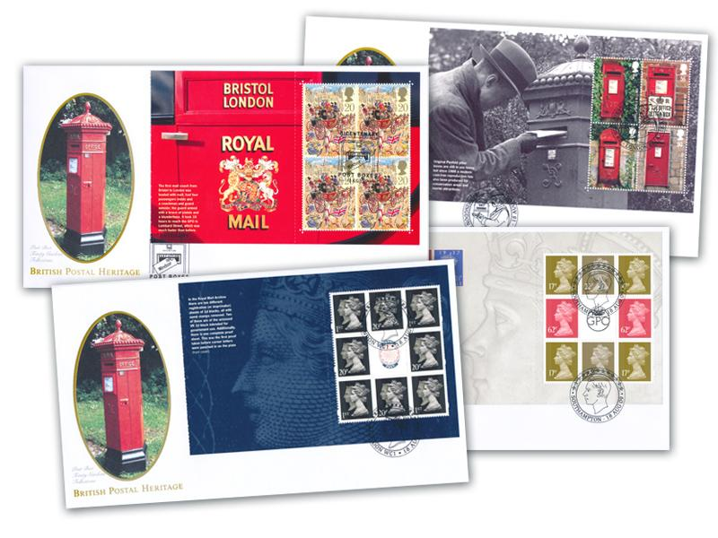 Postboxes Set of 4 Prestige Booklet Covers