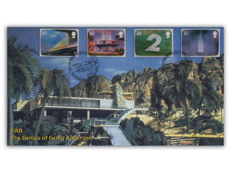 The Genius of Gerry Anderson Stamps torn from the Miniature Sheet