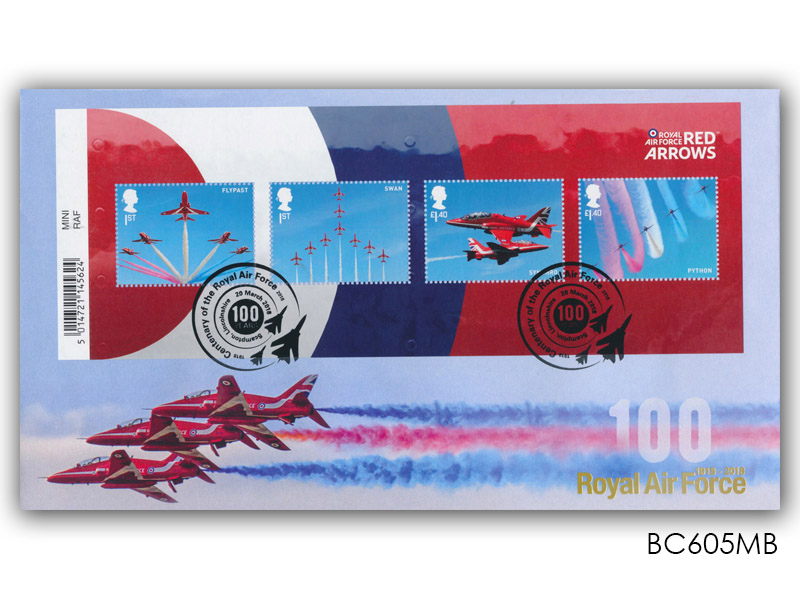 100 Years of the Royal Air Force - The Red Arrows Barcode Miniature Sheet