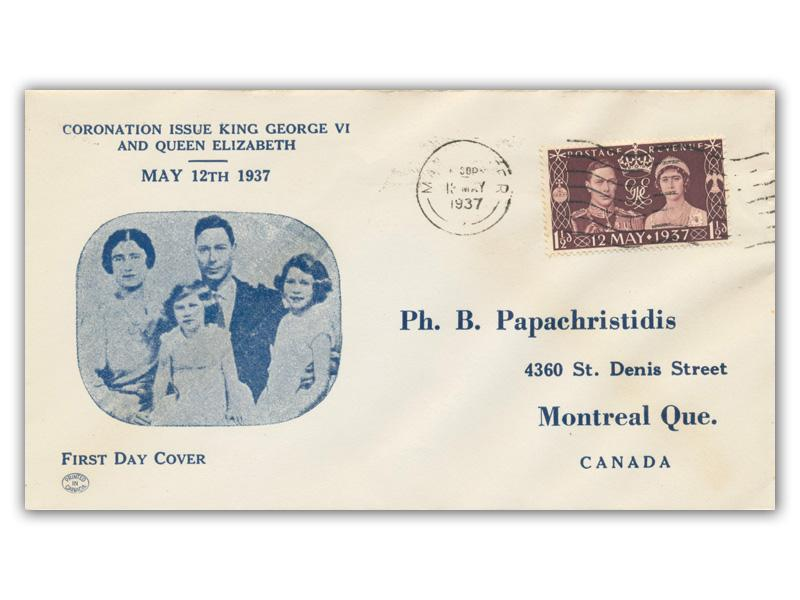1937 King George VI Coronation, Ph B Papachristidis illustrated cover