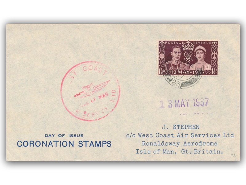King George VI Coronation West Coast Air Service FDC