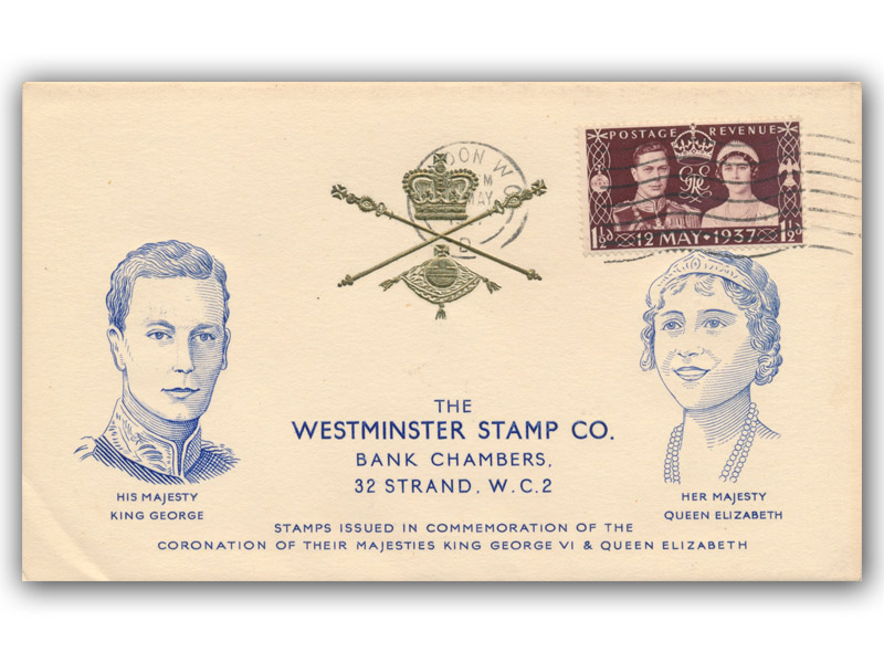 1937 King George VI Coronation, Westminster Stamp Co, 1 1/2d