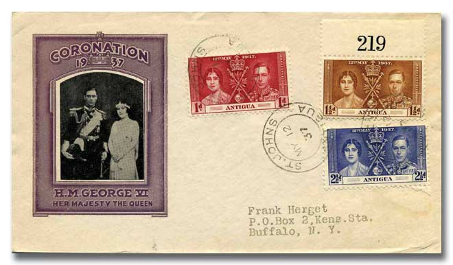 1937 Coronation Antigua illustrated cover