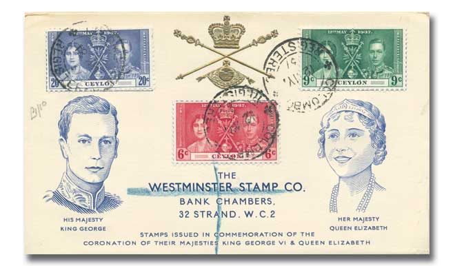 1937 Coronation Ceylon Westminster illustrated cover