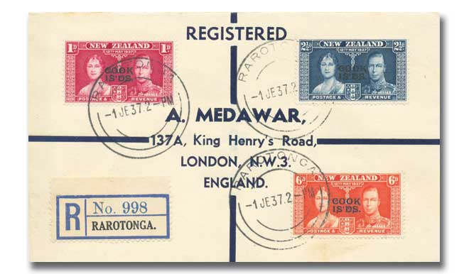 1937 Coronation Cook Islands plain cover