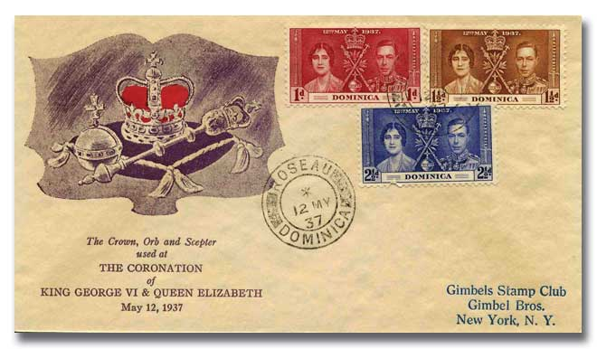 1937 Coronation Dominica illustrated cover