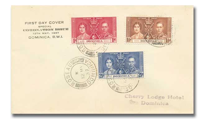 1937 Coronation Dominica plain cover