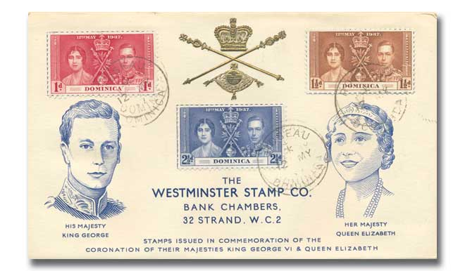 1937 Coronation Dominica Westminster illustrated cover