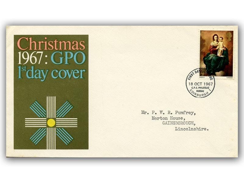 1967 Christmas 4d GPO Cover with Our Choice of Postmark