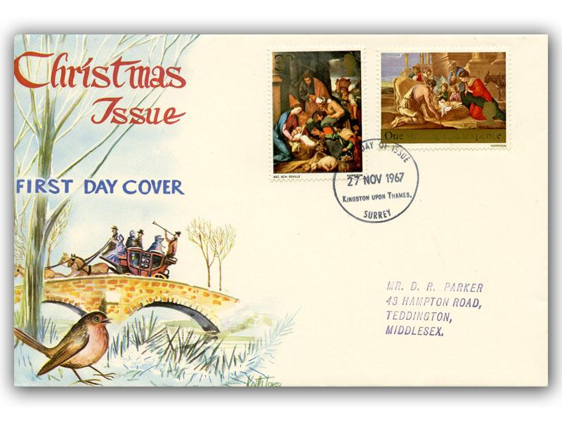 1967 Christmas 3d & 1/6d Connoisseur Cover with Our Choice of Postmark