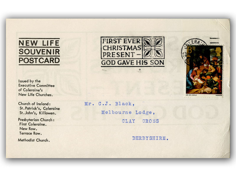 1967 Christmas 3d stamp postcard with a Londonderry slogan postmark