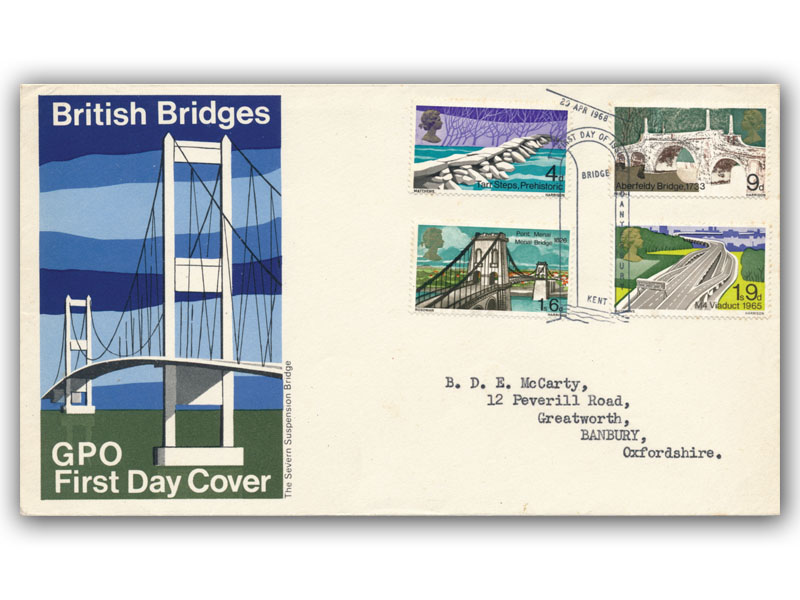 29th April 1968 Bridges GPO cover, missing Ultramarine on 9d value