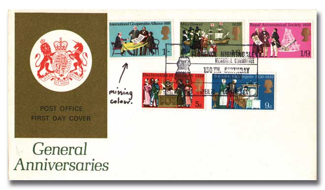 1st April 1970 Anniversaries, Post Office cover - Error (Missing Green)