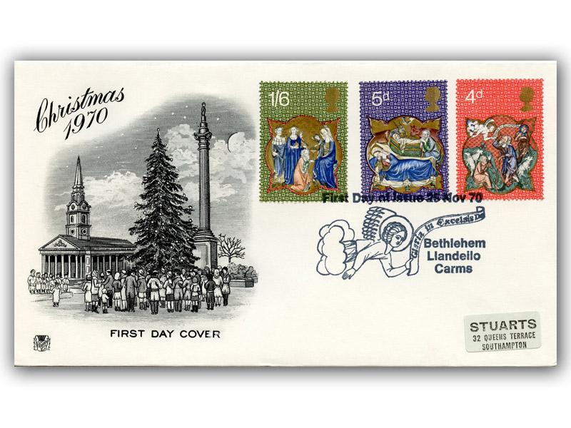 1970 Christmas Black & White Stuart Cover with a Bethlehem Special Postmark