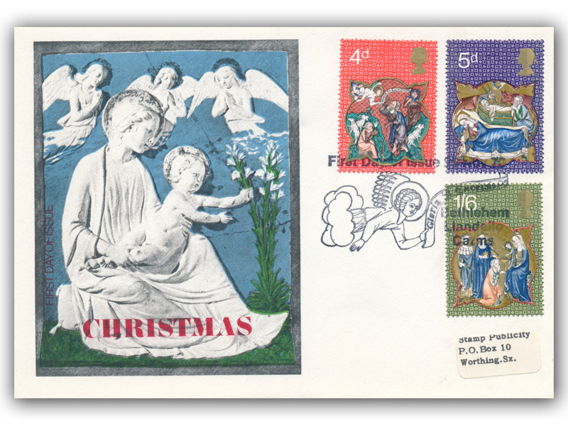 1970 Christmas Madonna and Cherubs Cover with a Bethlehem Special Postmark