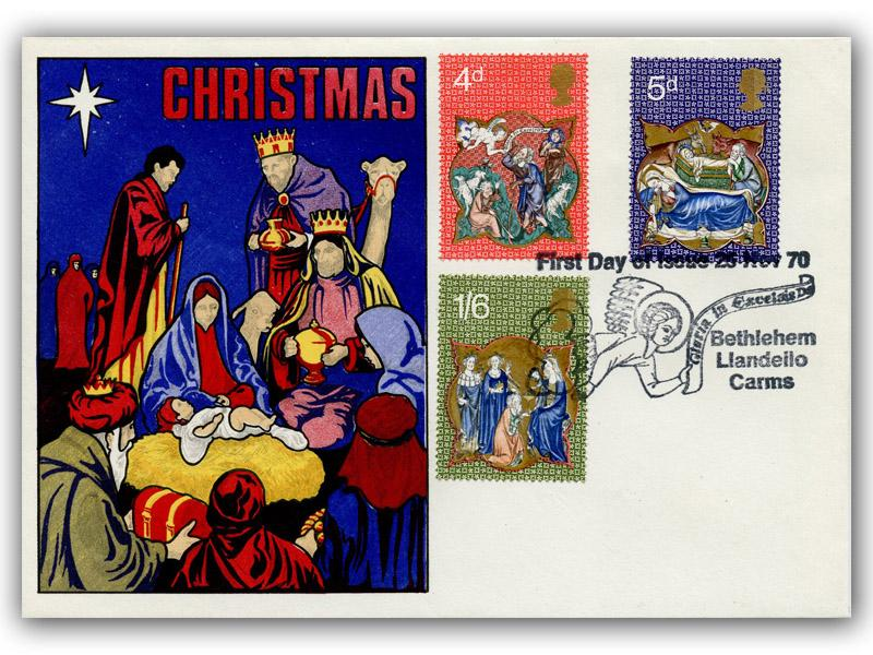 1970 Christmas Nativity Cover with a Bethlehem Postmark