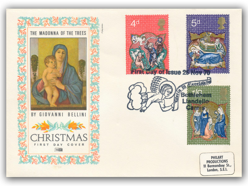 1970 Christmas Philart Madonna & Child Cover with a Bethlehem Special Postmark