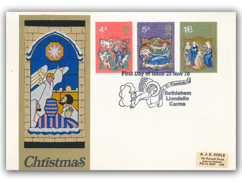 1970 Christmas Woven Craft Cover with a Bethlehem Special Postmark